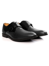 Black and Gray Single Strap Monk Leather Shoes alternate shoe image