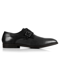 Black and Gray Single Strap Monk Leather Shoes main shoe image