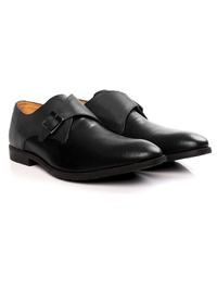 Gray and Black Single Strap Monk Leather Shoes alternate shoe image