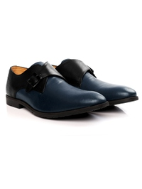 Black and Dark Blue Single Strap Monk Leather Shoes alternate shoe image