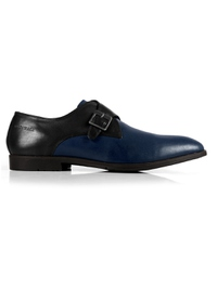 Black and Dark Blue Single Strap Monk main shoe image