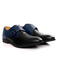 Dark Blue and Black Single Strap Monk Leather Shoes alternate shoe image
