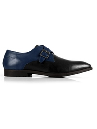 Dark Blue and Black Single Strap Monk Leather Shoes main shoe image