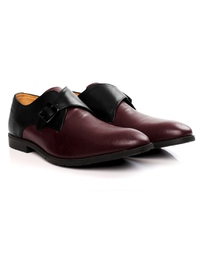 Black and Burgundy Single Strap Monk Leather Shoes alternate shoe image