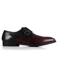 Black and Burgundy Single Strap Monk Leather Shoes main shoe image