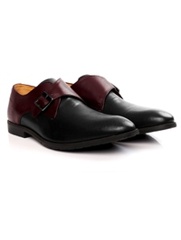 Burgundy and Black Single Strap Monk Leather Shoes alternate shoe image