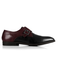 Burgundy and Black Single Strap Monk Leather Shoes main shoe image