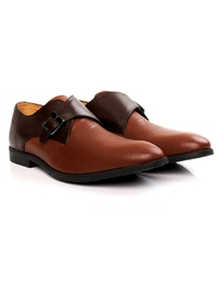 Brown and Tan Single Strap Monk Leather Shoes alternate shoe image