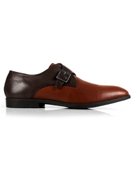 Brown and Tan Single Strap Monk Leather Shoes main shoe image