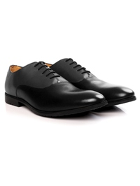 Gray and Black Plain Oxford Leather Shoes alternate shoe image