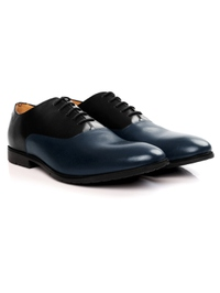 Black and Dark Blue Plain Oxford Leather Shoes alternate shoe image