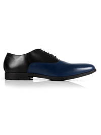 Black and Dark Blue Plain Oxford Leather Shoes main shoe image