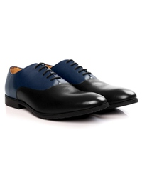 Dark Blue and Black Plain Oxford Leather Shoes alternate shoe image