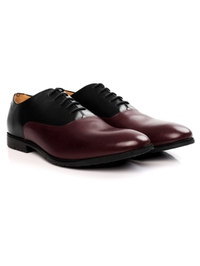 Black and Burgundy Plain Oxford Leather Shoes alternate shoe image