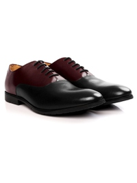 Burgundy and Black Plain Oxford Leather Shoes alternate shoe image