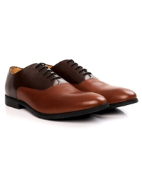 Brown and Tan Plain Oxford Leather Shoes alternate shoe image