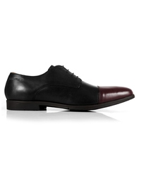 Black and Burgundy Toecap Derby main shoe image