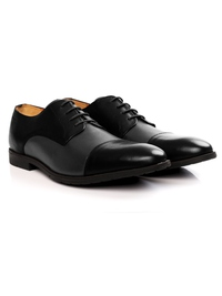 Black and Gray Toecap Derby Leather Shoes alternate shoe image