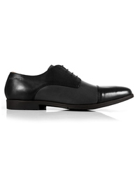 Black and Gray Toecap Derby Leather Shoes main shoe image