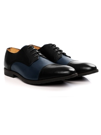 Black and Dark Blue Toecap Derby Leather Shoes alternate shoe image