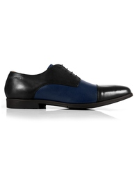 Black and Dark Blue Toecap Derby Leather Shoes main shoe image