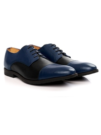 Dark Blue and Black Toecap Derby Leather Shoes alternate shoe image