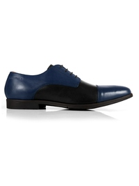 Dark Blue and Black Toecap Derby Leather Shoes main shoe image