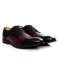 Black and Burgundy Toecap Derby Leather Shoes alternate shoe image
