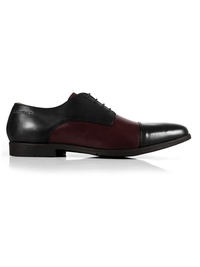 Black and Burgundy Toecap Derby Leather Shoes main shoe image
