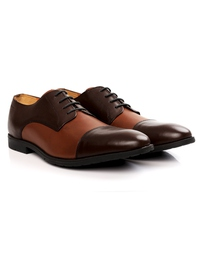 Brown and Tan Toecap Derby Leather Shoes alternate shoe image