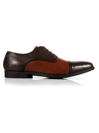 Brown and Tan Toecap Derby Leather Shoes main shoe image