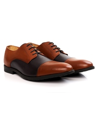 Tan and Brown Toecap Derby Leather Shoes alternate shoe image