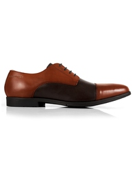 Tan and Brown Toecap Derby Leather Shoes main shoe image