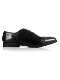 Black and Gray Quarter Brogue Oxford Leather Shoes main shoe image