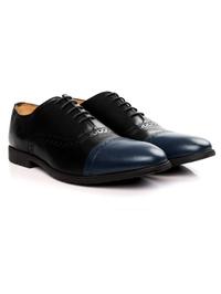 Black and Dark Blue Quarter Brogue Oxford alternate shoe image