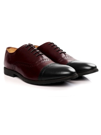 Burgundy and Black Quarter Brogue Oxford alternate shoe image