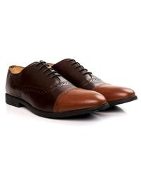 Brown and Tan Quarter Brogue Oxford alternate shoe image