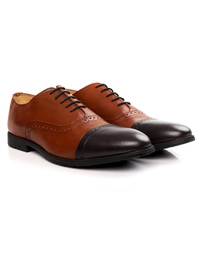 Tan and Brown Quarter Brogue Oxford alternate shoe image
