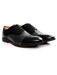 Black and Gray Quarter Brogue Oxford Leather Shoes alternate shoe image