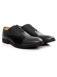 Gray and Black Quarter Brogue Oxford Leather Shoes alternate shoe image