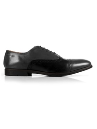 Gray and Black Quarter Brogue Oxford Leather Shoes main shoe image
