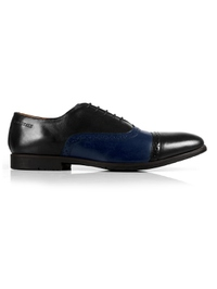 Black and Dark Blue Quarter Brogue Oxford main shoe image