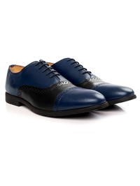 Dark Blue and Black Quarter Brogue Oxford Leather Shoes alternate shoe image