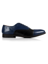 Dark Blue and Black Quarter Brogue Oxford Leather Shoes main shoe image