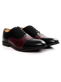 Black and Burgundy Quarter Brogue Oxford Leather Shoes alternate shoe image
