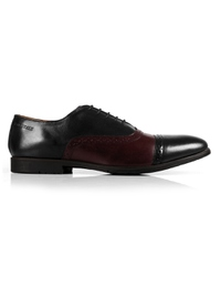 Black and Burgundy Quarter Brogue Oxford Leather Shoes main shoe image