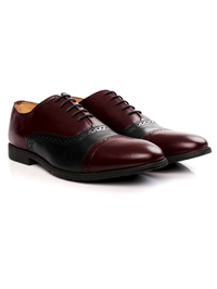 Burgundy and Black Quarter Brogue Oxford Leather Shoes alternate shoe image