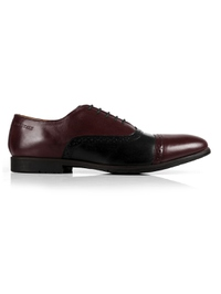 Burgundy and Black Quarter Brogue Oxford Leather Shoes main shoe image
