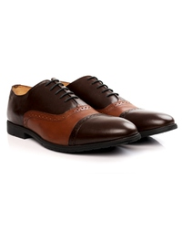 Brown and Tan Quarter Brogue Oxford alternate shoe image