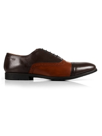 Brown and Tan Quarter Brogue Oxford main shoe image